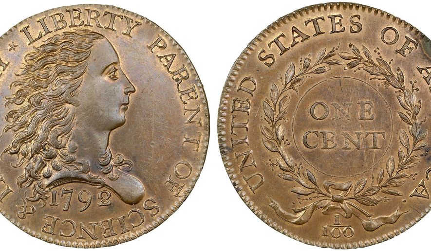 """This photo provided by Heritage Auctions shows an experimental U.S. penny struck to test a design in 1792 that sold Thursday, Jan. 8,2015 for $2,585,000 to a California man according to Heritage Auctions in Dallas. An official says the rare coin is called the """"Birch cent"""" after engraver Robert Birch. (AP Photo/Heritage Auctions)"""