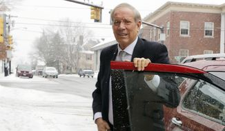 Former New York Republican Gov. George Pataki arrives Monday, Jan. 12, 2015, in Concord, N.H. during a visit to the nation's earliest presidential primary state.  Pataki is considering a run for the 2016 presidential elections.  (AP Photo/Jim Cole)