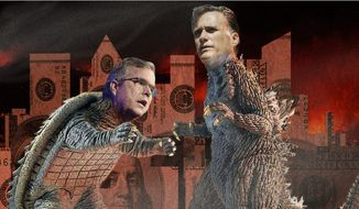 Illustration on competition between Jeb Bush and Mitt Romney for campaign funding by Alexander Hunter/The Washington Times