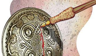Bleeding Arabian Satire Shield Illustration by Greg Groesch/The Washington Times