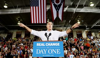 All political signs would indicate Mitt Romney is primed for another long haul presidential campaign, such as this scene from the 2012 race. (Associated press)
