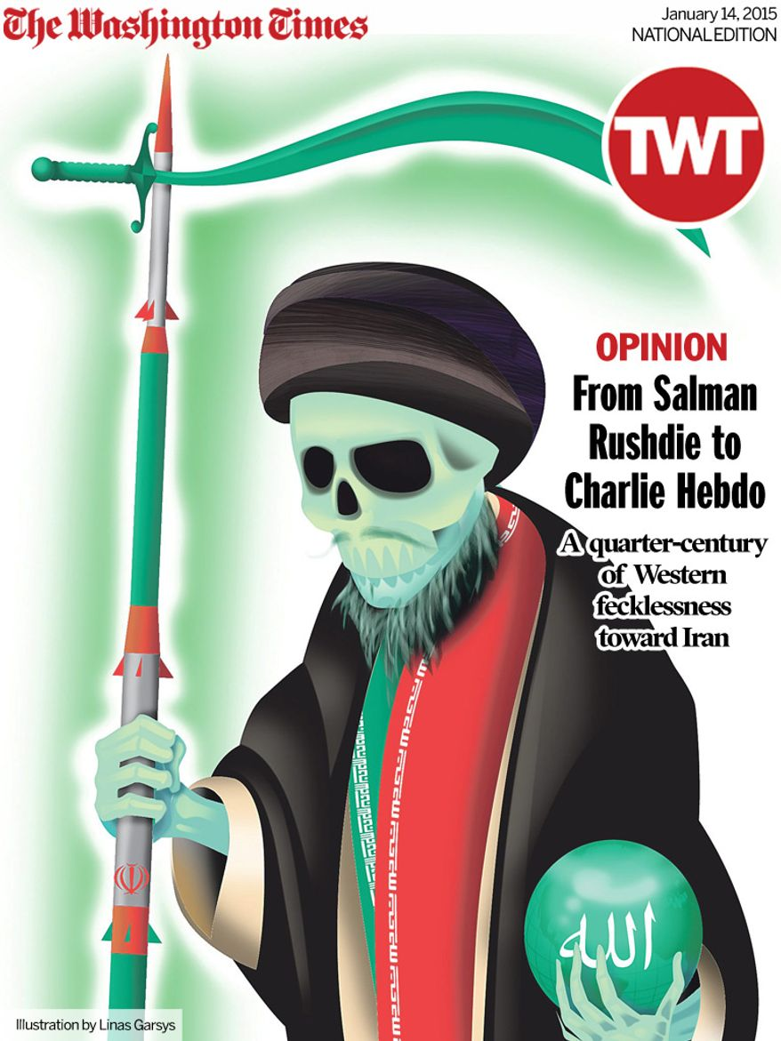 National Edition Opinion cover for January 14, 2015 - From Salman Rushdie to Charlie Hebdo (Illustration by Linas Garsys for The Washington Times)
