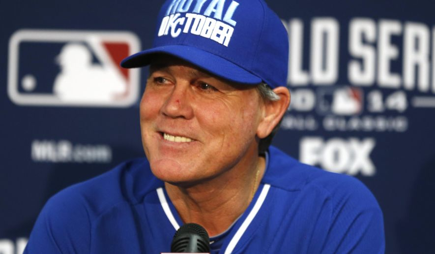 FILE - In this Oct. 20, 2014, file photo, Kansas City Royals manager Ned Yost smiles during a news conference at Kauffman Stadium in Kansas City, Mo. The AL champion Royals and Ned Yost have agreed on a one-year contract extension that will keep the manager with the franchise through the 2016 season. Yost said after leading the Royals to an improbable pennant last season that he hoped to manage a few more years.  (AP Photo/Orlin Wagner, File)