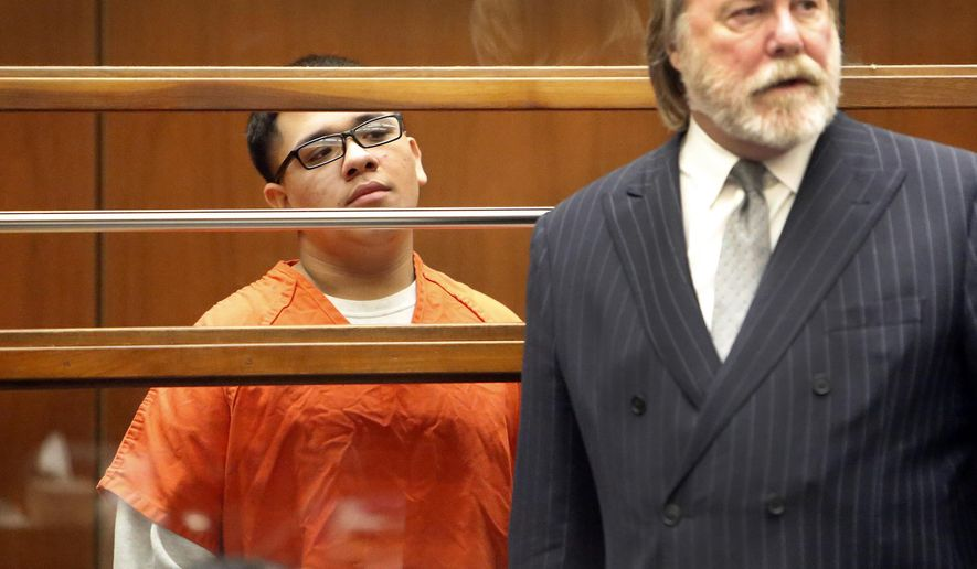 Alberto Ochoa, left, appears in Los Angeles Superior Court Monday, Jan. 12, 2015 with his attorney Christopher C. Chaney, as one of four defendants being charged in connection to the 2014 beating death of USC graduate student Xinran Ji student during an attempted robbery. (AP Photo/Los Angeles Times, Al Seib, Pool)