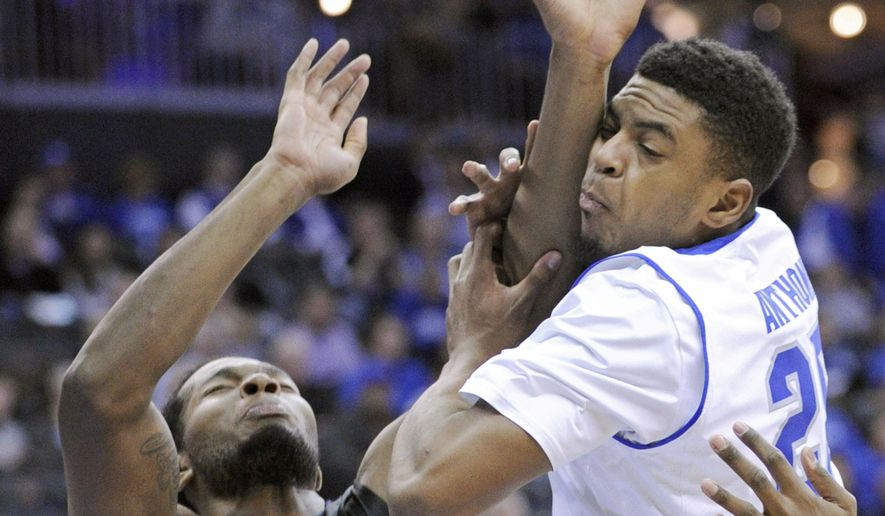 Seton Hall's Rashed Anthony, right, fouls Butler's Tyler Wideman during the first half of an NCAA college basketballl game Tuesday, Jan. 13, 2015, in Newark, N.J. (AP Photo/Bill Kostroun)