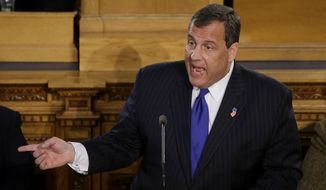 New Jersey Gov. Chris Christie delivers his State Of The State address, Tuesday, Jan. 13, 2015, in Trenton, N.J. (AP Photo/Mel Evans) ** FILE **