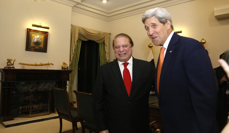 U.S. Secretary of State John Kerry is greeted by Pakistan Prime Minister Nawaz Sharif shortly after arriving in Islamabad, Pakistan Monday, Jan. 12, 2015. Kerry arrived in Pakistan on Monday to press the country's leadership to step up the fight against extremists and eliminate safe havens for terror groups along the Afghan border. Pakistan has been on edge ever since the Dec. 16 attack on the Peshawar school that was claimed by the Pakistani Taliban as retaliation for an army operation launched in June in the North Waziristan tribal area. (AP Photo/Rick Wilking, Pool)