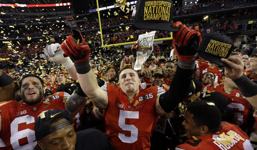 Ohio State's Jeff Heuerman after the NCAA college football playoff championship game against Oregon Monday, Jan. 12, 2015, in Arlington, Texas. Ohio State won 42-20. (AP Photo/David J. Phillip)