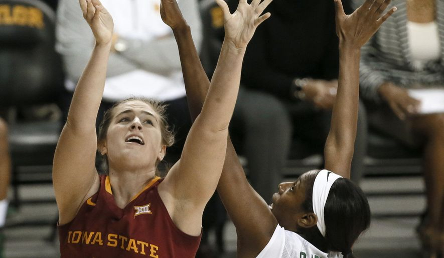 Iowa State center Bryanna Fernstrom (44) goes up for a shot past Baylor's Khadijiah Cave (55) during the first half of an NCAA college basketball game, Tuesday, Jan. 13, 2015, in Waco, Texas. (AP Photo/Tony Gutierrez)