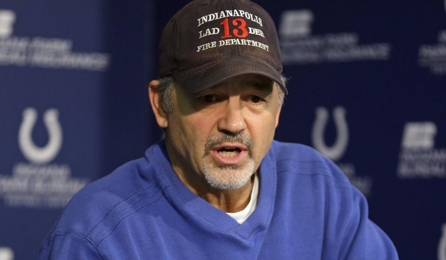 Indianapolis Colts head coach Chuck Pagano answers a question during a press conference at the team's practice facility in Indianapolis, Monday, Jan. 12, 2015. The Colts face the New England Patriots in Sunday's AFC Championship game. (AP Photo/Michael Conroy)