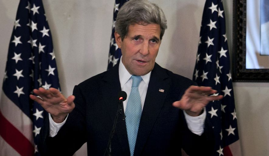 "U.S. Secretary of State John Kerry gestures during a joint press conference with Pakistani prime minister's adviser on foreign affairs Sartaj Aziz Tuesday, Jan. 13, 2015 in Islamabad, Pakistan. Kerry praised the Pakistani military's operation against militants in the country's northwest, saying the results are ""significant."" (AP Photo/Anjum Naveed)"