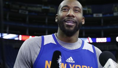 Amar'e Stoudemire speaks to the media during a New York Knicks media availability session at the O2 Arena in London, Wednesday, Jan. 14, 2015. Milwaukee Bucks will play New York Knicks in an NBA game at the O2 Arena in London on Thursday. (AP Photo/Kirsty Wigglesworth)