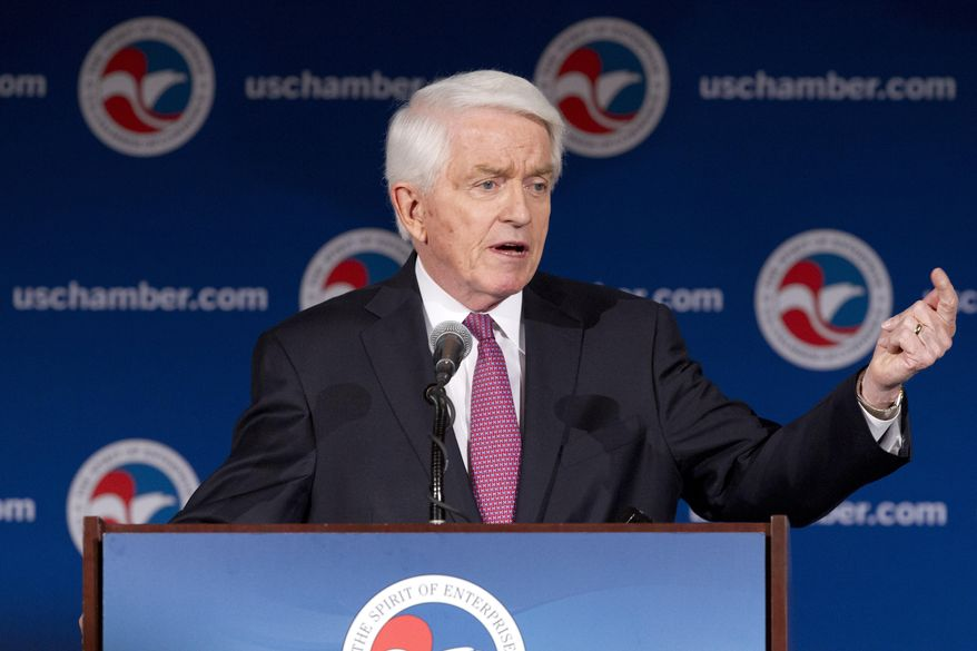 U.S. Chamber of Commerce President and CEO Thomas Donohue speaks at the State of American Business 2015 event in Washington, Wednesday, Jan. 14, 2015. (AP Photo/Jacquelyn Martin) ** FILE **