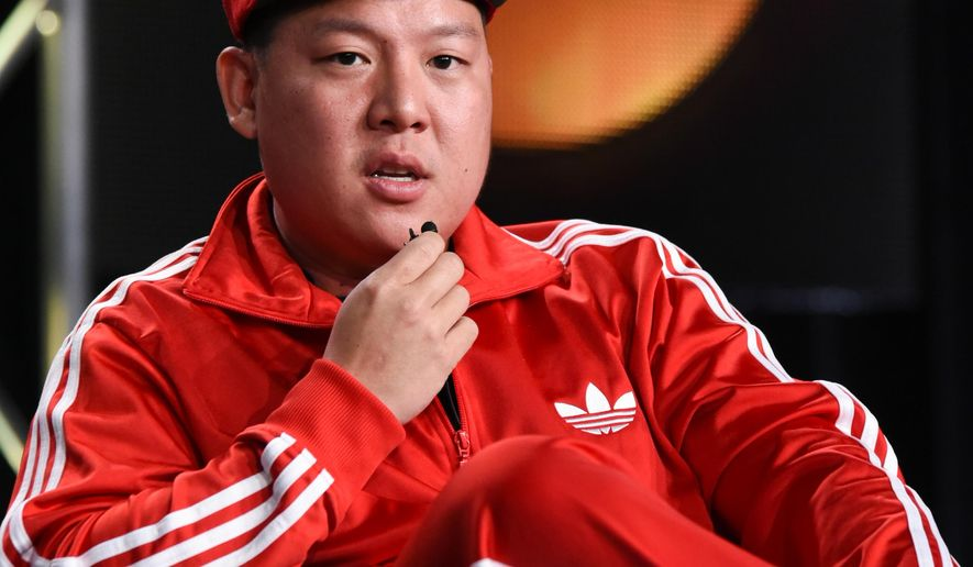 """Eddie Huang speaks during the """"Fresh Off the Boat"""" panel at the Disney/ABC Television Group 2015 Winter TCA on Wednesday, Jan. 14, 2015, in Pasadena, Calif. (Photo by Richard Shotwell/Invision/AP)"""