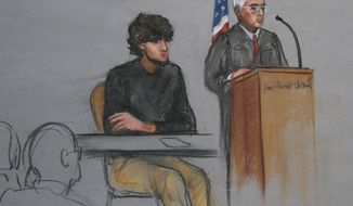 "FILE - In this Monday, Jan. 5, 2015, file courtroom sketch, Boston Marathon bombing suspect Dzhokhar Tsarnaev, left, is depicted beside U.S. District Judge George O'Toole Jr., right, as O'Toole addresses a pool of potential jurors in a jury assembly room at the federal courthouse, in Boston. Lawyers for Boston Marathon bombing suspect Dzhokhar Tsarnaev asked a judge on Tuesday, Jan. 13, to suspend jury selection in his trial for at least a month because the recent terrorist attacks in France have again placed the marathon bombings ""at the center of a grim global drama."" (AP Photo/Jane Flavell Collins, File)"