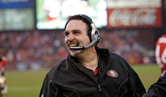 In this photo taken Jan. 2, 2011, San Francisco 49ers interim head coach Jim Tomsula stands on the sideline during the fourth quarter of an NFL football game in San Francisco. A person with direct knowledge of the agreement says the 49ers have promoted longtime defensive line coach Tomsula to head coach. The person spoke on condition of anonymity Wednesday, Jan. 14, 2015, because the team had not announced the deal following a more than two-week search that ended right in house. (AP Photo/Paul Sakuma)