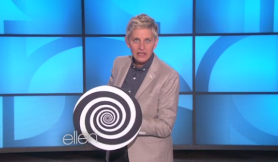 "Ellen DeGeneres responded with humor on Wednesday to a Christian Post contributor who alleged that gay celebrities like her are guilty of pushing a ""gay agenda"" on America's youth. (The Ellen DeGeneres Show via Too Fab)"