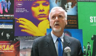 """Director James Cameron speaks in Wellington, New Zealand, in this Dec. 16, 2013, file photo, to announce that he will shoot three sequels to his 2009 sci-fi blockbuster movie """"Avatar"""" in the country. (AP Photo/Nick Perry, File)"""