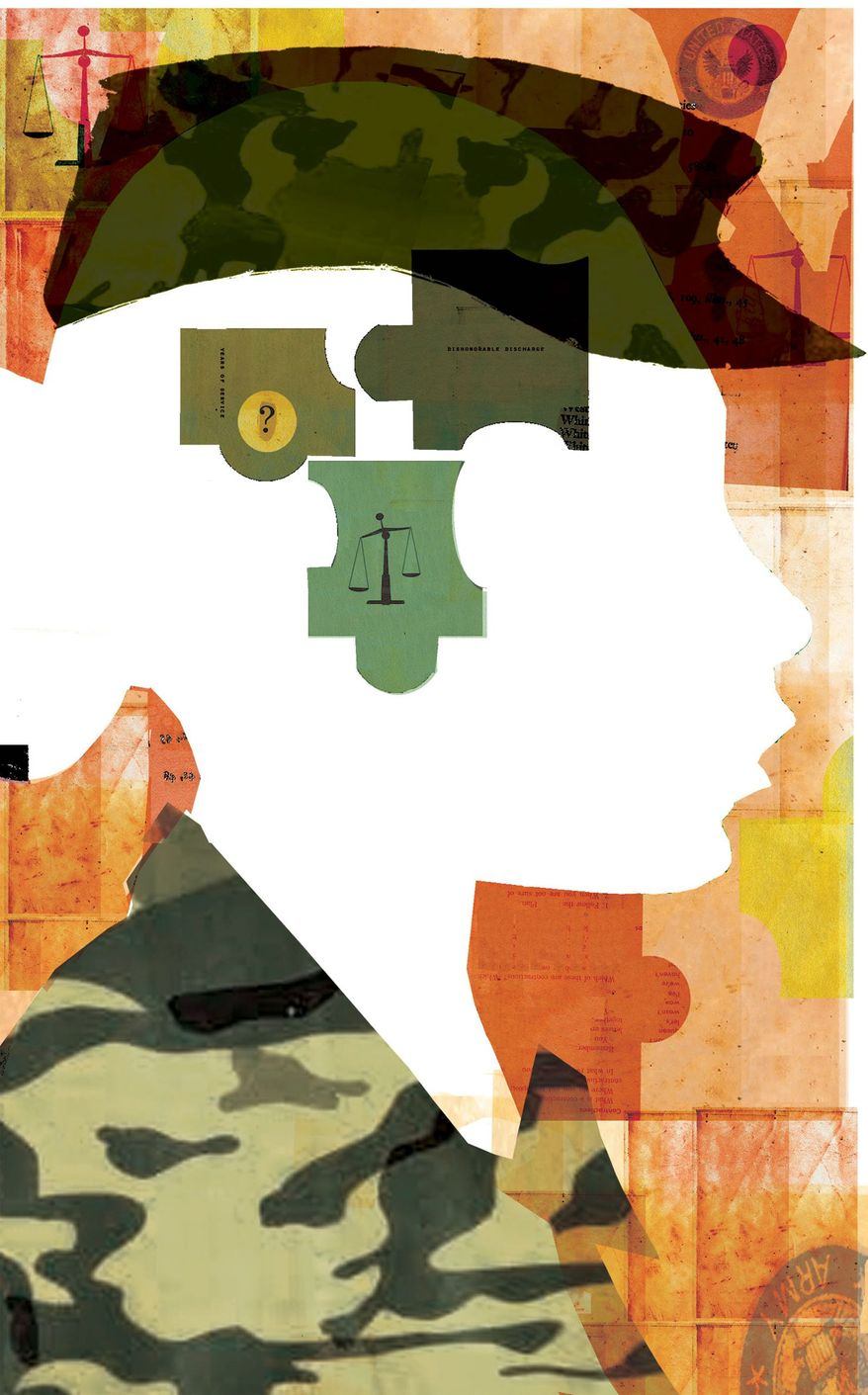 Illustration on dealing with sexual assaults in the military by Donna Grethen/Tribune Content Agency