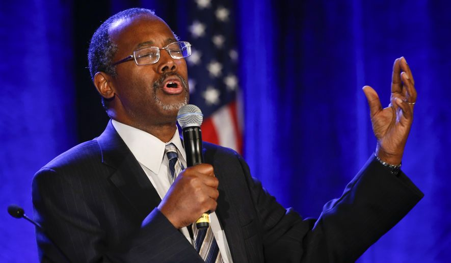 "Dr. Ben Carson addresses the Republican National Committee luncheon Thursday, Jan. 15, 2015, in San Diego. The former neurosurgeon and conservative favorite addressed the Republican National Committee's winter meeting on Thursday. Carson says the Islamic State has ""the wrong philosophy, but they're willing to die for what they believe."" He says today's Americans ""are busily giving away every belief and every value for the sake of political correctness."" (AP Photo/Lenny Ignelzi)"