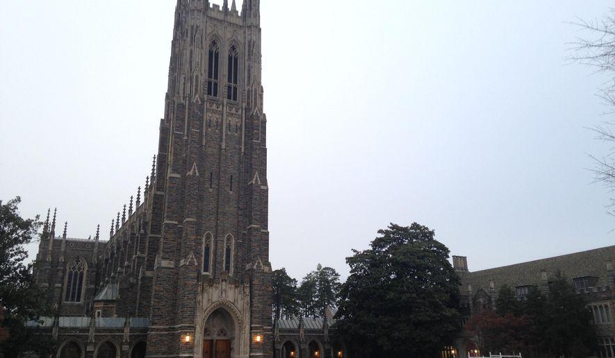 This Thursday, Jan. 15, 2015 photo shows Duke Chapel in Durham, N.C. (AP Photo/Jonathan Drew)