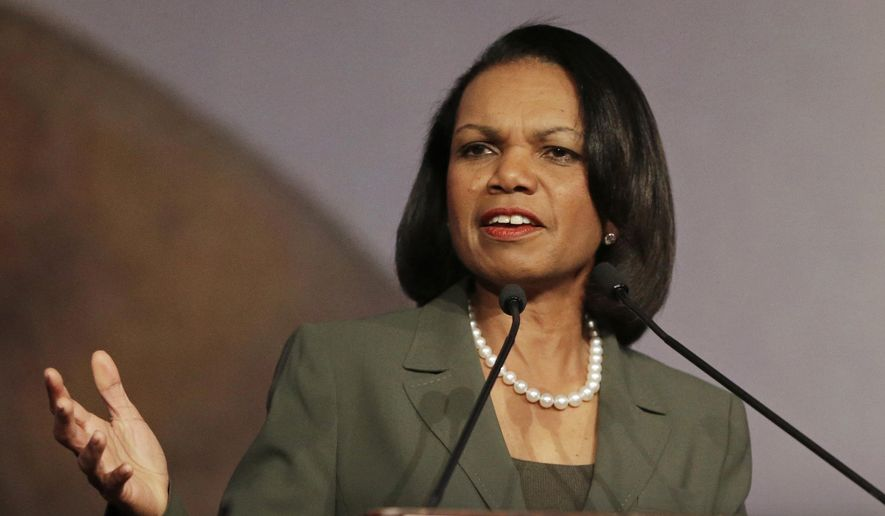 Former Secretary of State Condoleezza Rice speaks in Burlingame, Calif., in this March 15, 2014, file photo. (AP Photo/Ben Margot, File)