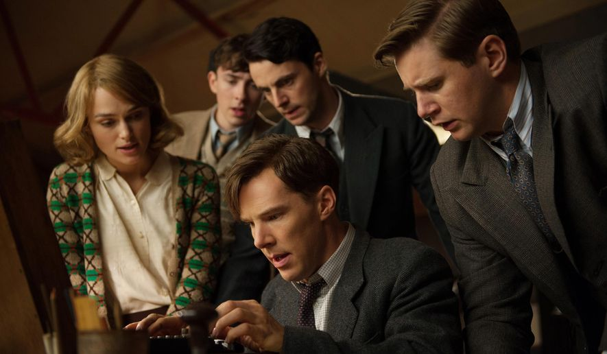 """This image released by The Weinstein Company shows, clockwise from left, Keira Knightley, Matthew Beard, Matthew Goode, Allen Leech and Benedict Cumberbatch in a scene from the film, """"The Imitation Game."""" The film was nominated for an Oscar Award for best feature on Thursday, Jan. 15, 2015. The 87th Annual Academy Awards will take place on Sunday, Feb. 22, 2015 at the Dolby Theatre in Los Angeles. (AP Photo/The Weinstein Company, Jack English)"""