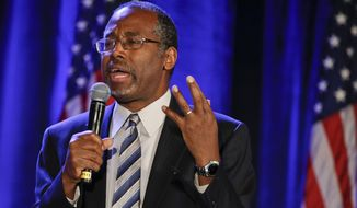 """Dr. Ben Carson addresses the Republican National Committee luncheon Thursday, Jan. 15, 2015, in San Diego. The former neurosurgeon and conservative favorite addressed the Republican National Committee's winter meeting on Thursday. Carson says the Islamic State has """"the wrong philosophy, but they're willing to die for what they believe."""" He says today's Americans """"are busily giving away every belief and every value for the sake of political correctness."""" (AP Photo/Lenny Ignelzi)"""