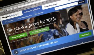 FILE - This Nov. 12, 2014 file photo shows the HealthCare.gov website, where people can buy health insurance, on a laptop screen, shown in Portland, Ore. Not only do more Americans have health insurance, but the number struggling with medical costs has dropped since President Barack Obama's health care law expanded coverage, according to a study released Thursday Jan. 15, 2015. (AP Photo/Don Ryan, File)