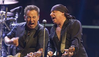 Bruce Springsteen, left, performs with Steve Van Zandt during their Wrecking Ball tour at the Izod Center in East Rutherford, N.J. On Thursday, Jan. 15, 2015, April, 3, 2012. (AP Photo/Asbury Park Press, Doug Hood,file) ** FILE **