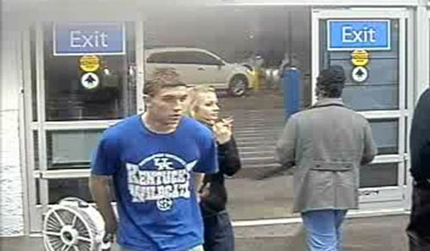 In this January 2015 photo made from surveillance video and released by the Grayson County Sheriff's Office, in Kentucky, 18-year-old Dalton Hayes and 13-year-old Cheyenne Phillips walk into a South Carolina Wal-Mart. Authorities are looking for the teenage couple from central Kentucky who are suspected in a multistate crime spree. (AP Photo/Wal-Mart Inc. via The Grayson County (Ky.) Sheriff's Office)