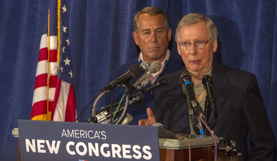 House Speaker John Boehner, left,  and Senate Majority Leader Mitch McConnell meet with the press at the GOP retreat at the Hershey Lodge in Hershey, Pa., Thursday, Jan. 15, 2015. (AP Photo/PennLive.com, Mark Pynes ) ** FILE **