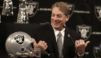 New Oakland Raiders coach Jack Del Rio gestures during a news conference Friday, Jan. 16, 2015, in Alameda, Calif. (AP Photo/Ben Margot)