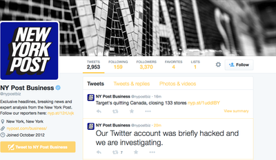 The New York Post confirmed Friday that its main Twitter account had been hacked.