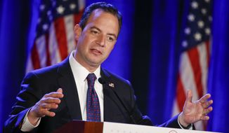 This photo taken Jan. 15, 2015, shows Republican National Committee Chairman Reince Priebus speaking at the Republican National Committee meetings in San Diego. (AP Photo/Lenny Ignelzi) ** FILE **