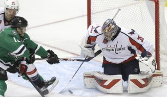 Washington Capitals goalie Justin Peters (35) and defenseman Brooks Orpik (44) defend the goal against Dallas Stars left wing Ryan Garbutt (16) during the second period of an NHL hockey game Saturday, Jan. 17, 2015, in Dallas. (AP Photo/LM Otero)
