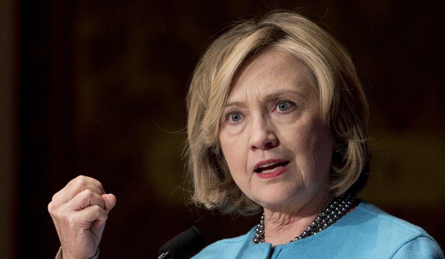 Former Secretary of State Hillary Rodham Clinton.  (AP Photo/Carolyn Kaster)