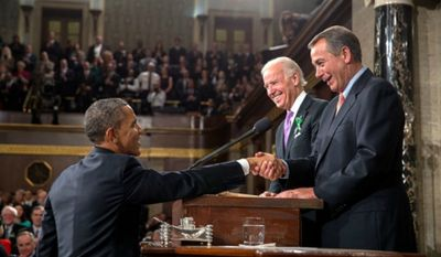 President Obama greets Vice President Biden and Speaker Boehner before the State of the Union address. (Official White House Photo by Pete Souza)