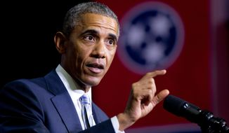 This Jan. 9, 2015, file photo shows President Barack Obama speaking at Pellissippi State Community College, in Knoxville, Tenn. (AP Photo/Carolyn Kaster, File)