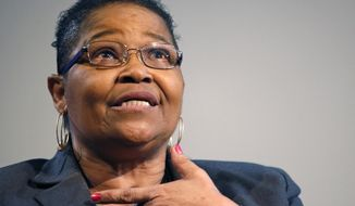 "Lynda Blackmon Lowery speaks during a pre-Martin Luther King Day appearance at the New York Historical Society, Sunday, Jan. 18, 2015, in New York. Blackmon, who spoke about her memoir ""Turning 15 on the Road to Freedom,"" was the youngest person to join Martin Luther King Jr. for the nonviolent 1965 march from Selma to Montgomery, Alabama. (AP Photo/Kathy Willens)"