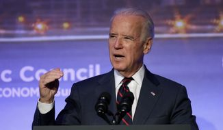 In this Nov. 22, 2014, file photo, U.S. Vice President Joe Biden speaks at the annual Atlantic Council Energy and Economic Summit in Istanbul, Turkey. (AP Photo/Emrah Gurel, File)