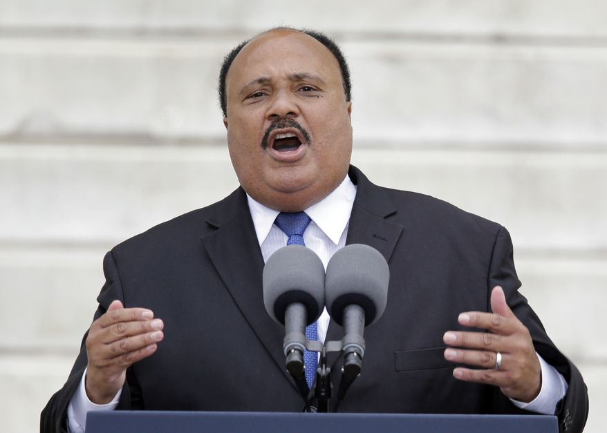 """""""My father's approach to the most brutal and unambiguous social injustices during the civil rights struggle was rooted in nonviolence as a morally and tactically correct response,"""" Martin Luther King III said in an interview with The Washington Times. """"In no way do I, nor would my father, condone any 'ends justify the means' behavior."""" (Associated Press)"""