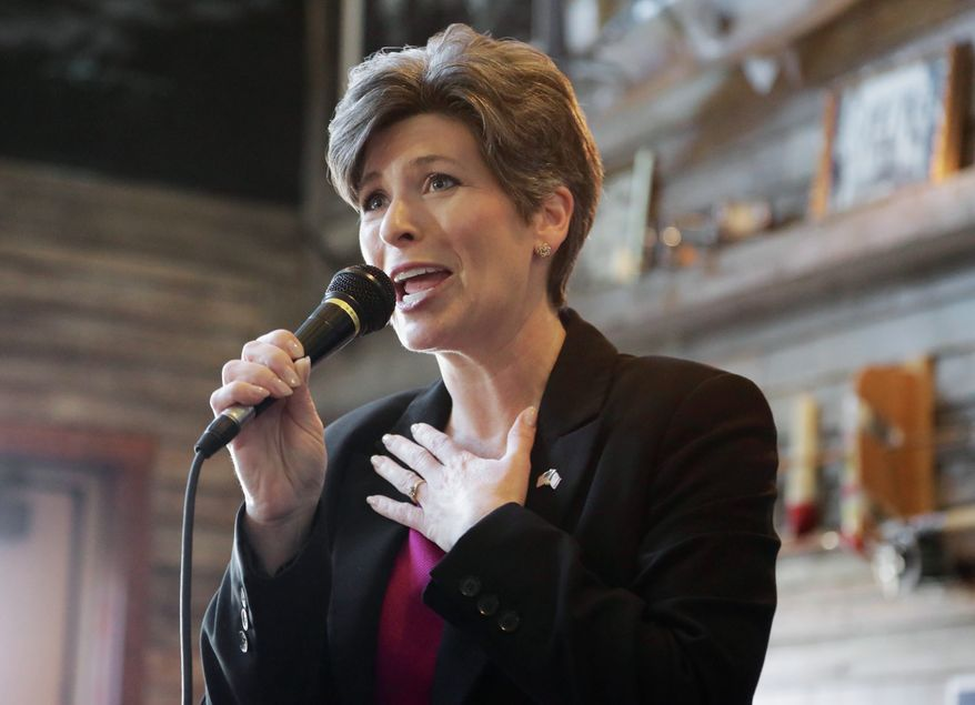 """Freshman Sen. Joni Ernst, Iowa Republican, has been tapped by the party to deliver rebuttal comments to President Obama's State of the Union address. Mrs. Ernst said that she """"never would have imagined"""" that she would have the chance to rebut Mr. Obama. (Associated Press) ** FILE **"""