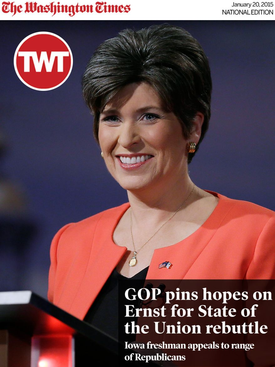 National Edition News cover for January 20, 2015 - GOP pins hopes on Ernst for State of the Union rebuttle: Iowa Republican senatorial candidate State Sen. Joni Ernst looks on before a live televised debate at Iowa Public Television studios, Thursday, April 24, 2014, in Johnston, Iowa. (AP Photo/Charlie Neibergall)