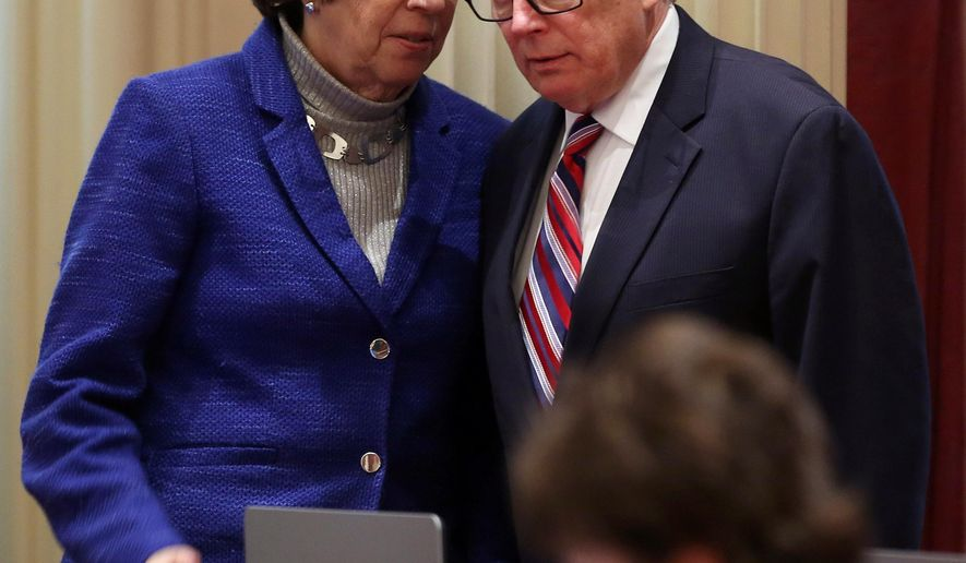 Sen. Lois Wolk, left, D-Davis and Sen. Bill Monning, D-Carmel, who have coauthored right-to-die legislation, talk during the Senate session at the Capitol in Sacramento, Calif., Tuesday, Jan. 20, 2015. The measure was inspired by the case of Brittany Maynard, a 29-year-old San Francisco Bay Area woman who moved to Oregon where she could legally end her life. The lawmakers will introduce the legislation, with members of Maynard's family, at a Capitol news conference, Wednesday, Jan. 21. (AP Photo/Rich Pedroncelli)