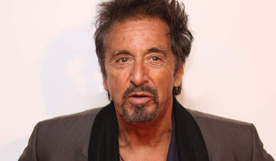 "FILE - In this Sept. 21, 2014 file photo, Al Pacino arrives for the Salome and Wild Salome UK Premiere at the BFI southbank in central London. Pacino stars with Kyra Sedgwick and Greta Gerwig in the new film, ""The Humbling,"" releasing in U.S. theaters on Jan. 23, 2015. (Photo by Joel Ryan/Invision/AP, File)"