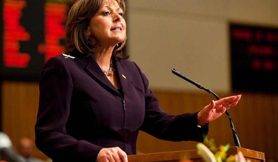 New Mexico Gov. Susana Martinez delivers her State of the State address at the New Mexico state capitol in Santa Fe, N.M., Tuesday, Jan. 20, 2015. (AP Photo/Eric Draper)