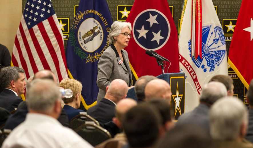 "Kentucky Lt. Gov. Crit Luallen addresses an Army ""listening session"" about potential cuts at Fort Campbell, Ky., on Tuesday, Jan 20, 2015. Under the Army's worst-case scenario, the sprawling post on the Kentucky-Tennessee line could lose up to 16,000 soldiers and civilians by 2020. (AP Photo/Erik Schelzig)"