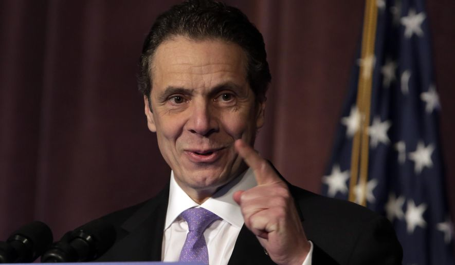 New York Gov. Andrew Cuomo speaking Tuesday, Jan. 20, 2015, at the Association for a Better New York, in New York. (AP Photo/Richard Drew)