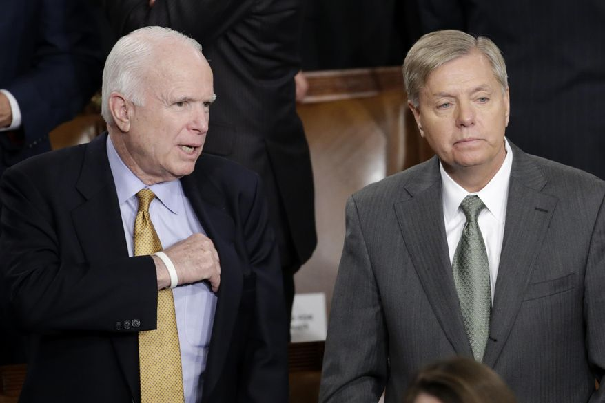 Sen. John McCain, R-Ariz., left, talks with Sen.Lindsey Graham, R-S.C., on Capitol Hill in Washington, Tuesday, Jan. 20, 2015, before President Barack Obama's State of the Union address before a joint session of Congress. (AP Photo/Pablo Martinez Monsivais) ** FILE **